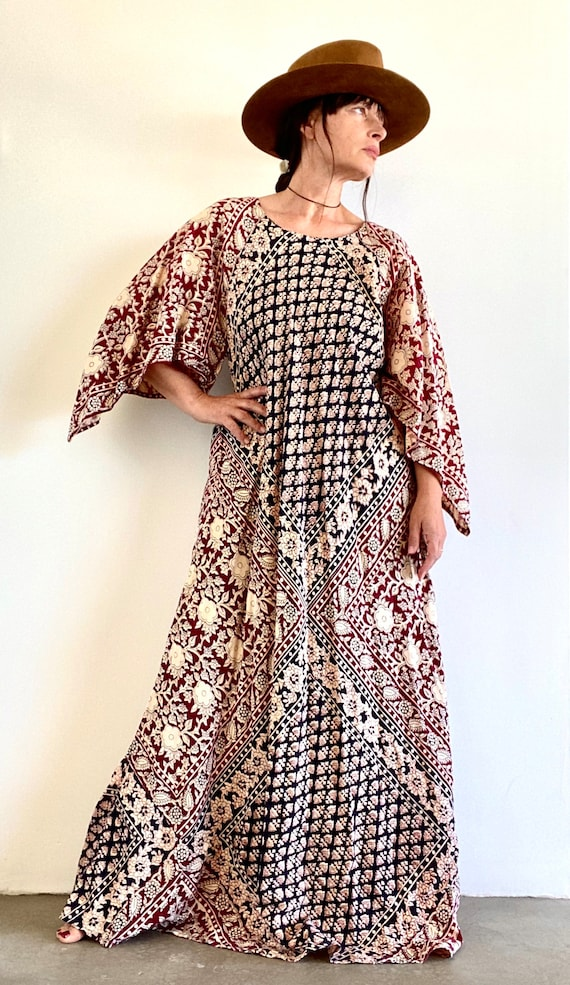 70's Block Print 100% Cotton Indian Maxi Dress