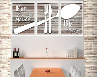 Eat Well Be Happy, Modern Kitchen Art, Shabby Chic Wall Decor, Shabby Chic Kitchen Wall Decor, Modern Kitchen Decor, Modern Kitchen Print,