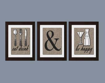 Eat Drink Be Happy Print, Shabby Chic Kitchen Wall Art, Shabby Chick Kitchen  Decor, Rustic Decor, Modern Kitchen Wall Art, Kitchen Wall Art