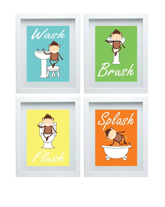 Bad Regeln Kinder Bad Kunst Kinder Badezimmer Dekor Affe Wand | Etsy