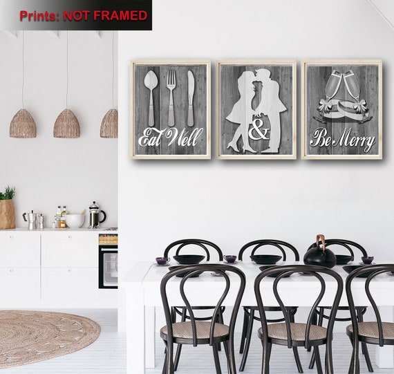 Shabby Chic Kitchen Decor Art Eat Well And Be Merry Etsy