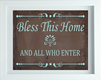 Bless This Home Sign Kitchen Wall Art Kitchen Decor Kitchen Art Quote Print Calligraphy Wall Art Dining Room Decor One 10X8 Print