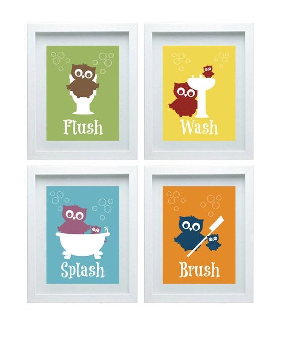 Bathroom Rules Art Kids Bathroom Decor Owl Wall Decor Set Of