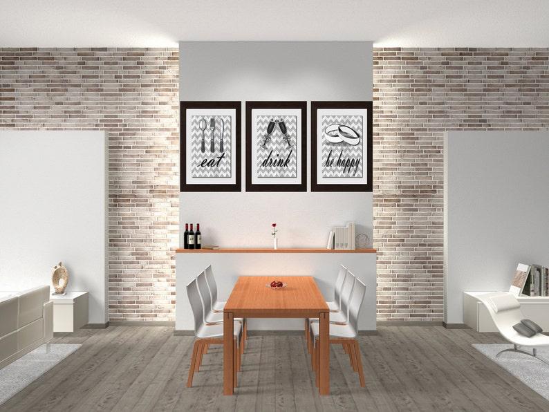 Essen trinken glücklich, Küche-Wand-Dekor, Esszimmer Wandbilder, Küche  Dekor, Esszimmer-Wand-Dekor, Küche Dekor, Bauernhausdekor