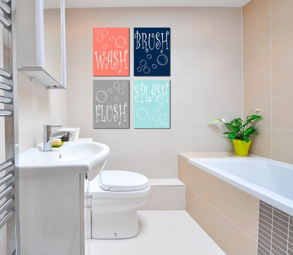 Fantastic Was Brush Flush Splash Canvas Wall Art Bathroom Canvas Wall Art Bathroom Rules Wall Decor Kids Bathroom Wall Decor Kids Bathroom Wall Art Home Interior And Landscaping Ponolsignezvosmurscom
