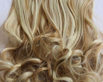 """READY TO SHIP 22"""" Copper Blonde Bleach Blonde Hair Extensions, Copper Streaks, Clip in Extensions, 8 piece Set, Bleach Blonde Highlights,"""