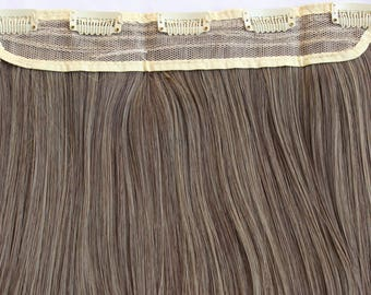 """READY TO SHIP 26"""" Medium Brown with Ash Blonde Highlights Hair Extension, One Piece 10"""" Wide Multi-Weft Clip in Extension, Clip On Hair"""