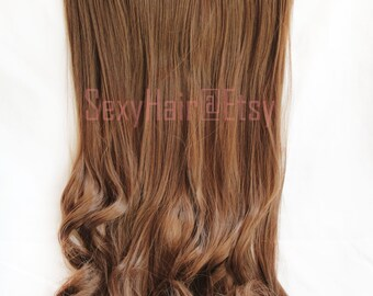 """24"""" Chestnut Brown Hair Extension,One Piece Multi-Weft Clip in Extension, Clip On, Thick Hair, Long Hair, Synthetic - Volume and Length"""