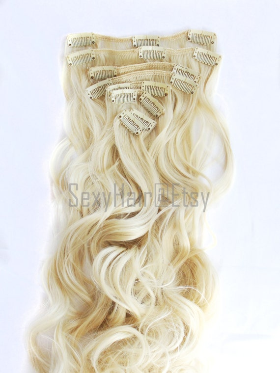 23 Platinum Blonde Hair Extensions Bleach Blonde Clip Etsy