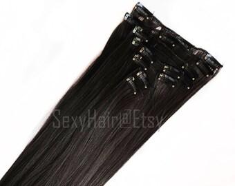 """READY TO SHIP 24"""" Dark Brown Hair Extension, 8 piece, Clip in, Brown Hair, Long Hair Thick Hair, Blackish Brown Hair, Black Brown Hair"""