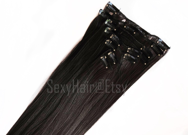 24 Dark Brown Hair Extension Full Head Clip In Extension Clip On Long Hair Thick Hair Brown Hair Extension 8 Piece Set