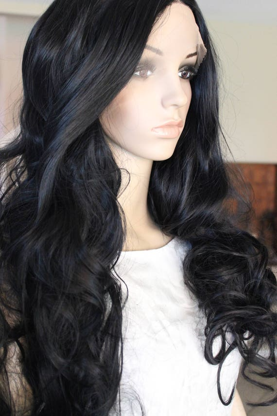 Ready To Ship Black Front Lace Wig Natural Black Hair Goth Etsy