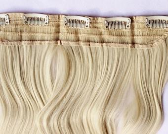 "23"" Platinum Blonde Hair Extension, One Piece Multi-Weft Clip in Extension, Clip On Hair Extension, Blonde Hair, Long Hair, Bunny Blonde"