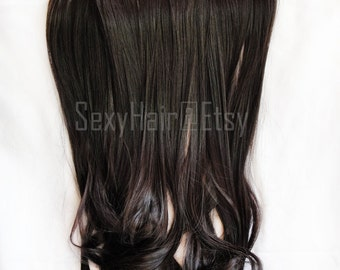 """24 """"Dark Brown Hair Extension, One Piece Multi-Weft Clip in Extension, Clip On Hair Extension, Brown Hair, Long Hair, Thick Hair, Extensions"""