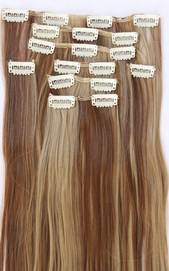 Ready To Ship 26 Light Brown Blonde Hair Extensions Etsy