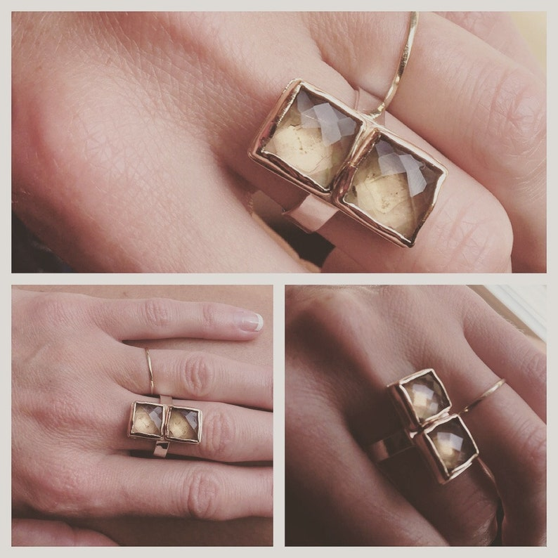 Double Citrine Linx Ring Square faceted stones hammered thick band statement gold bezels handmade silver wide two toned metals genuine