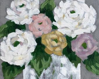 Pastel Rose Bouquet Original Painting on Canvas