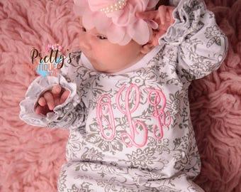 Coming home outfit girls Monogram gown~Monogramed newborn gown- Floral gray