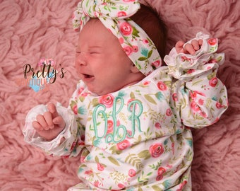 Coming home outfit girls Monogram gown~Monogramed newborn gown- Floral