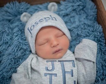 Monogrammed Baby Bodysuit Newborn Boy Coming Home Personalized Hat Bear Tipi. Personalized Baby Boy Coming Home Outfit