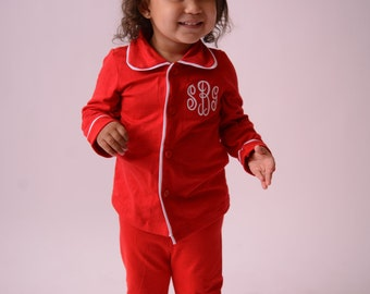 christmas pajamas for kids monogrammed in sizes 0 3 months to adult red button down christmas pjs