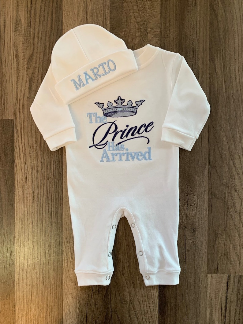 f4e383f10131 The Prince Has Arrived Homecoming Outfit Embroidered Romper | Etsy