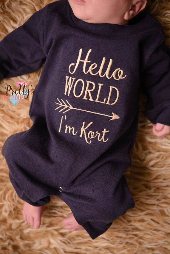 Personalised I/'m the Littlest Baby Romper and Hat Hospital Outfit New Baby Gifts
