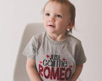Boys Valentine's Shirt Just call me Romeo-- Boys Valentine shirt or bodysuit