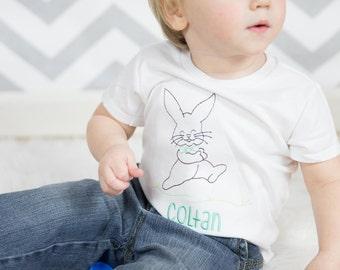 Boys Easter Shirt -- Easter Bunny shirt personalized-- Boy Easter Bunny shirt or Bodysuit -- Boys T Shirt --