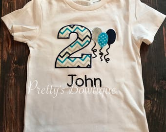 Birthday Shirt- Boys Birthday Shirt- Balloon Birthday Shirt- 1st Birthday Balloon Shirt- 2nd Birthday Shirt -- Any colors and age