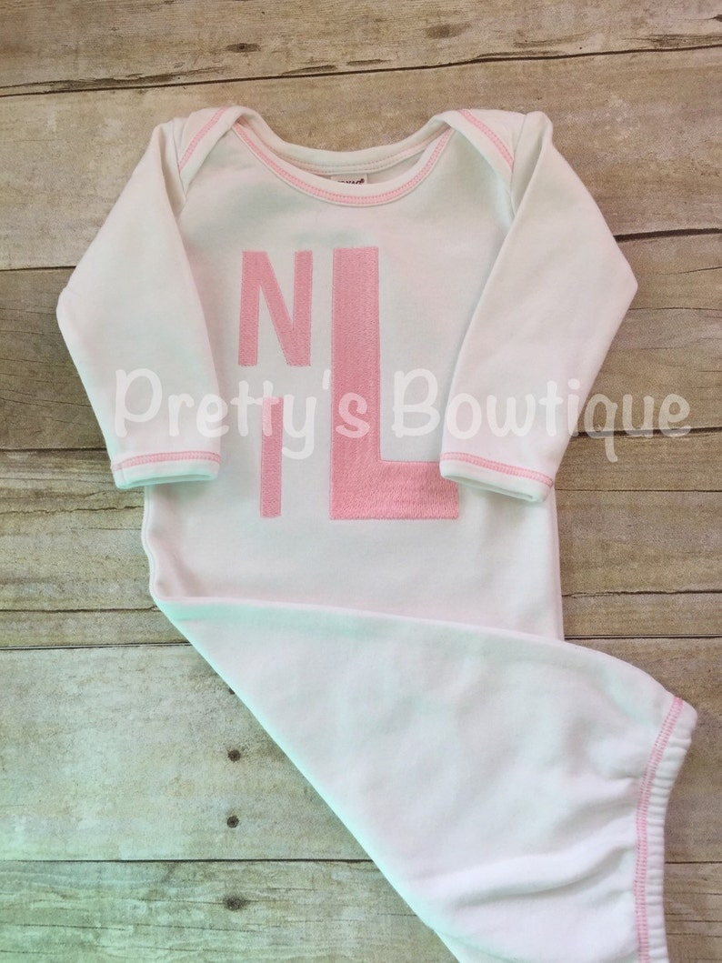 Girls Coming home outfit  Monogram gown~Monogramed newborn gown