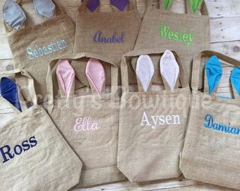 Burlap Easter Bags – Easter Bunny Ear Bags Personalized with Names