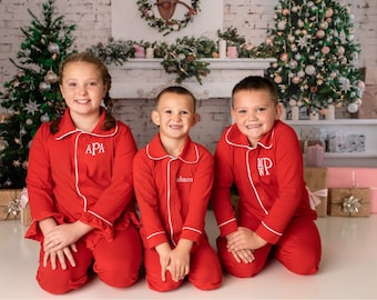 Christmas Outfit for Kids Monogrammed in Sizes 0-3 Months to Adult -- Red Button down Christmas outfit