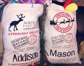 Personalized Santa Sack or Reindeer Sack Personalized with Child's Name
