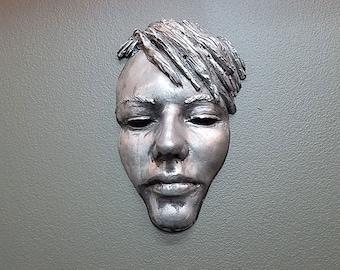 Female Face sculpture with tarnished Silver Finish, black eyes, garden art, wall decor, sculpture, urban face art, mask