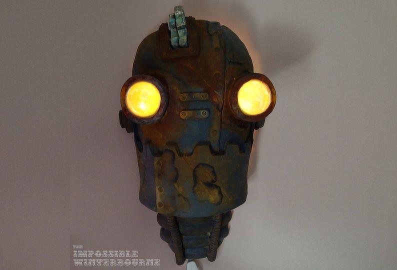 Steampunk Robot Lamp SteamBot Lantern Glowing image 0