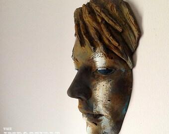 Rusted Stripe Finish Female Face Sculpture