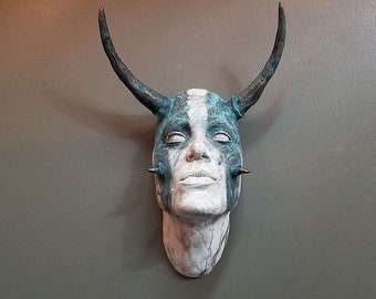 Tribal Taurus Face Sculpture with white eyes - Blue and White Striped finish. Wall art, wall sconce, home and garden decor