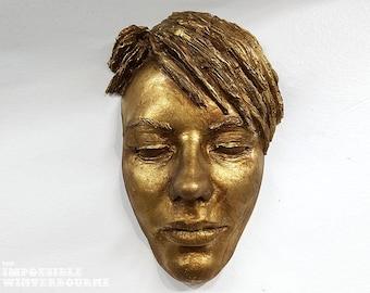 Antique Gold Female Face Sculpture, streetart face sculpture, face casting tree art and garden decor, gold face mask, golden mask