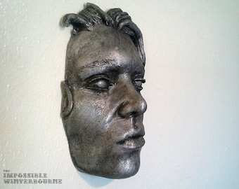 """Female face sculpture, """"Siren Face"""" - Pewter Finish, A hauntingly beautiful piece of art for home or garden decoration"""