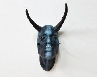 Tribal Taurus Face Sculpture with black eyes - Patina Bronze and Striped finish. Wall art, wall sconce, home and garden decor