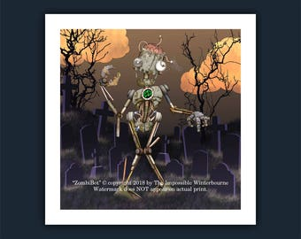 Zombie Robot Illustration • ZombiBot •  from the popular children's book - The AlphaBots