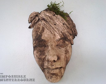 Female Face Sculpture - Stone Finish with Moss