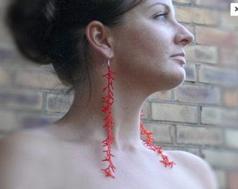 Long Red  Earrings. Extra Long  Earrings. Shoulder Dusters. Beadwork
