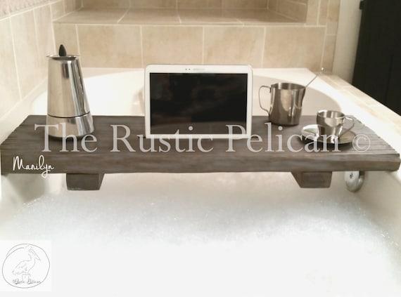 Rustic Bathtub Caddy-Wood Bathtub Tray Bath shelf   Etsy