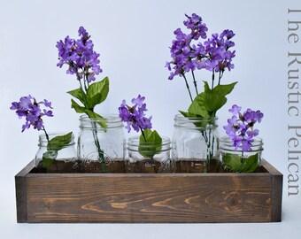 Reclaimed Wood Planter Box with mason jars -rustic chic decor -Weddings - Rustic Wedding -Home Decor -Wooden Planter-Home Decor -Rustic Vase