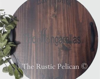 Wine Barrel, Lazy Susan, Wooden Wine Barrel, Hand Painted, Monogram, Weddings, Wedding Gift, Personalized, Bar, wine Cellar