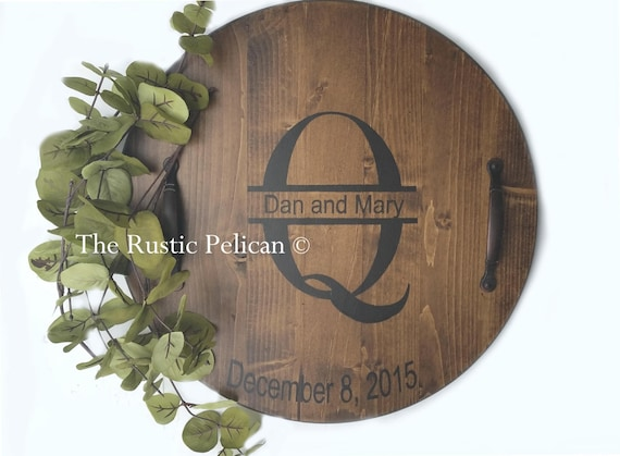 Lazy Susan Wine Barrel Serving Tray Personalized Wedding Etsy