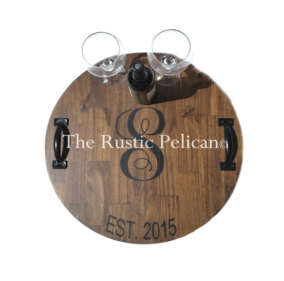 Huge Wine Barrel Personalized Monogram Lazy Susan Wood | Etsy