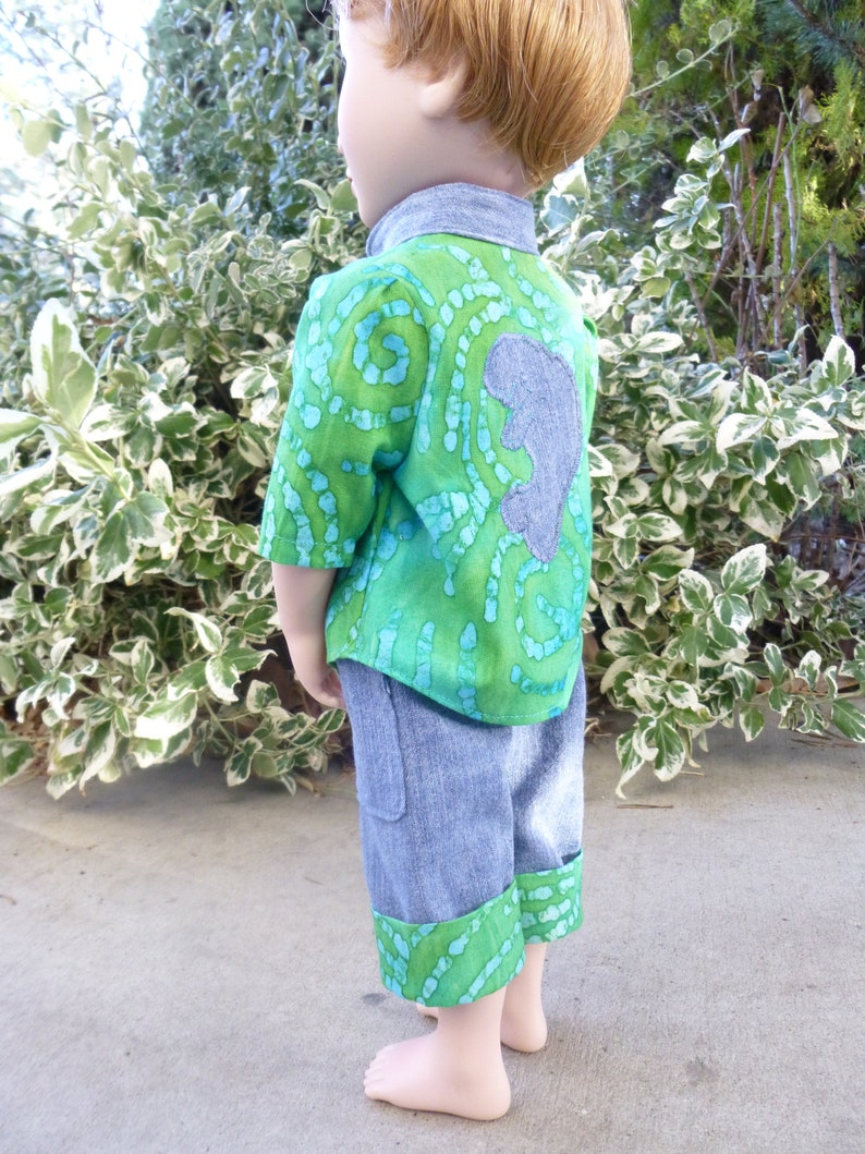 Doll Not Included OOAK Manatee Big Shirt clam digger cargo pants set for GirlForAllTime or similar 16 inch boy dolls